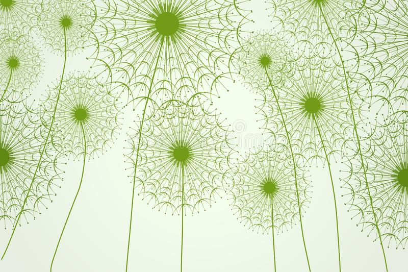 Hintergrund des Grüns 3d mit Schattenbildern des Löwenzahns mit Dreiecken, modernes 3d übertragen vektor abbildung
