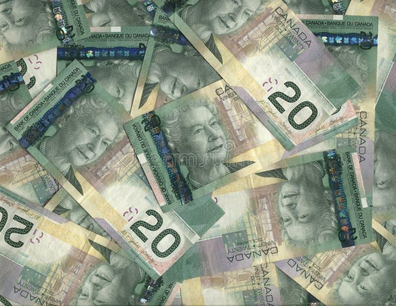 Hintergrund des Kanadiers Zwanzig Dollarscheine stockbilder