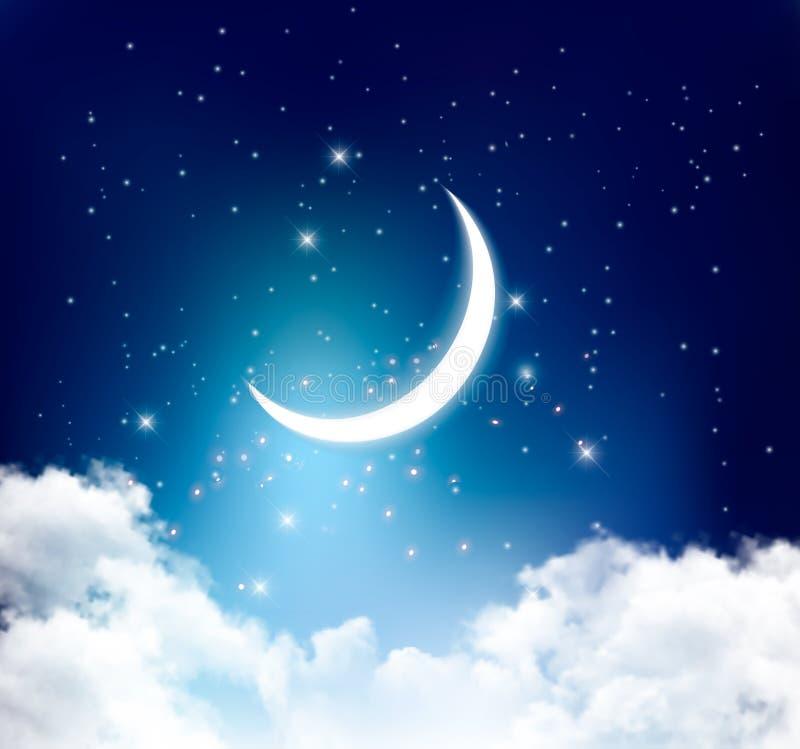 Hintergrund des nächtlichen Himmels mit mit sichelförmigem Mond, Wolken und Sternen lizenzfreie abbildung