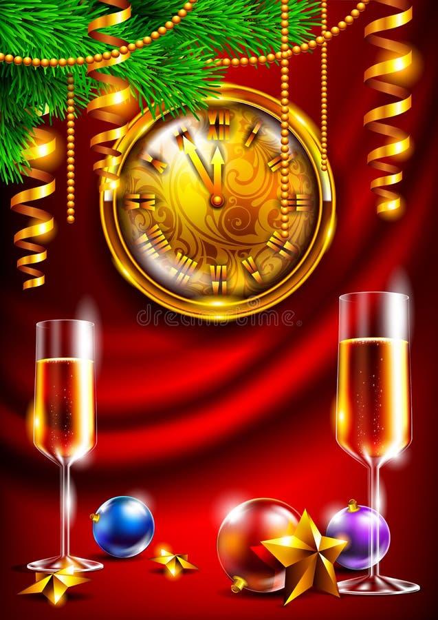 Hintergrund des neuen Jahres mit einer Uhr und Gläsern Champagner lizenzfreie stockbilder