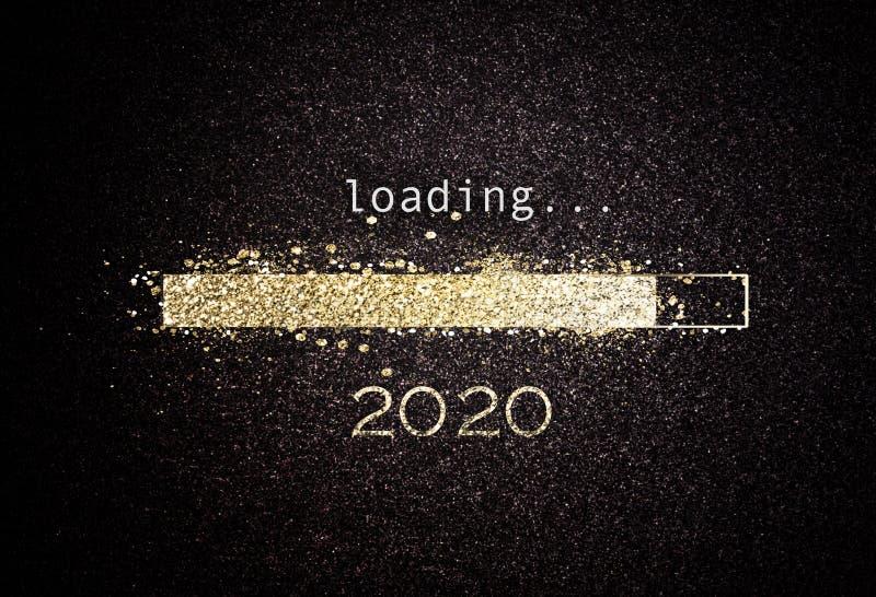 Hintergrund des neuen Jahres 2020 mit Ladenstange lizenzfreie stockfotos