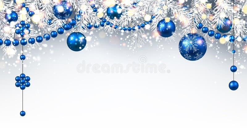 Hintergrund des neuen Jahres mit Weihnachtsbällen vektor abbildung