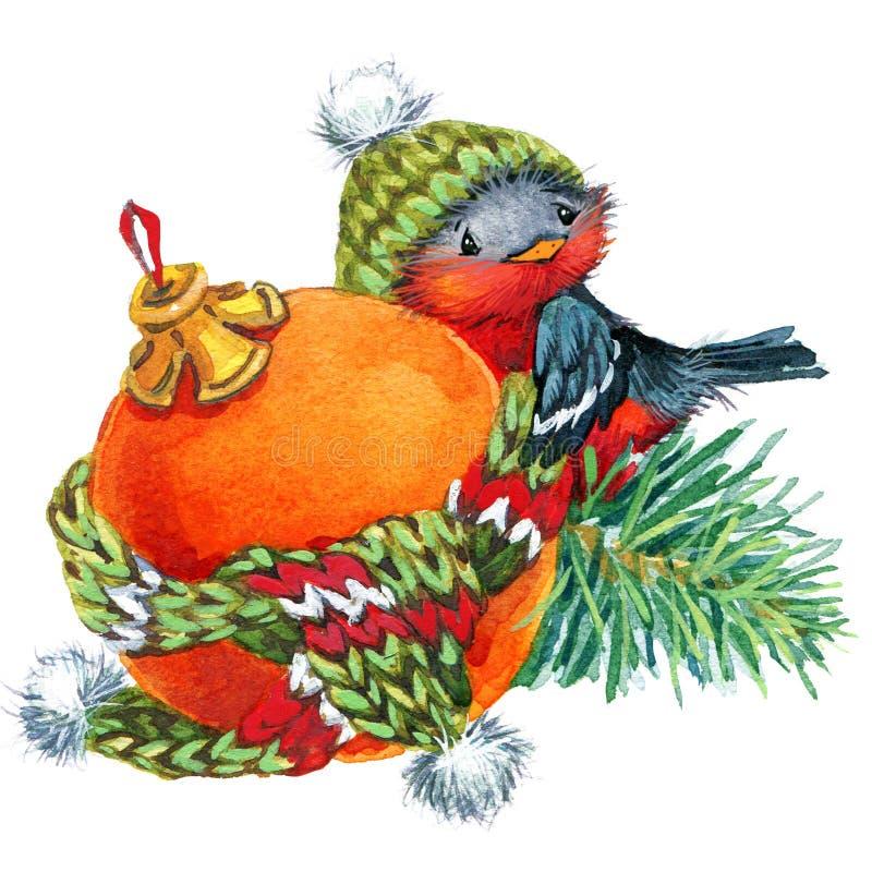 Hintergrund des neuen Jahres mit Winterelementen und nettem Vogel watercolor lizenzfreie abbildung