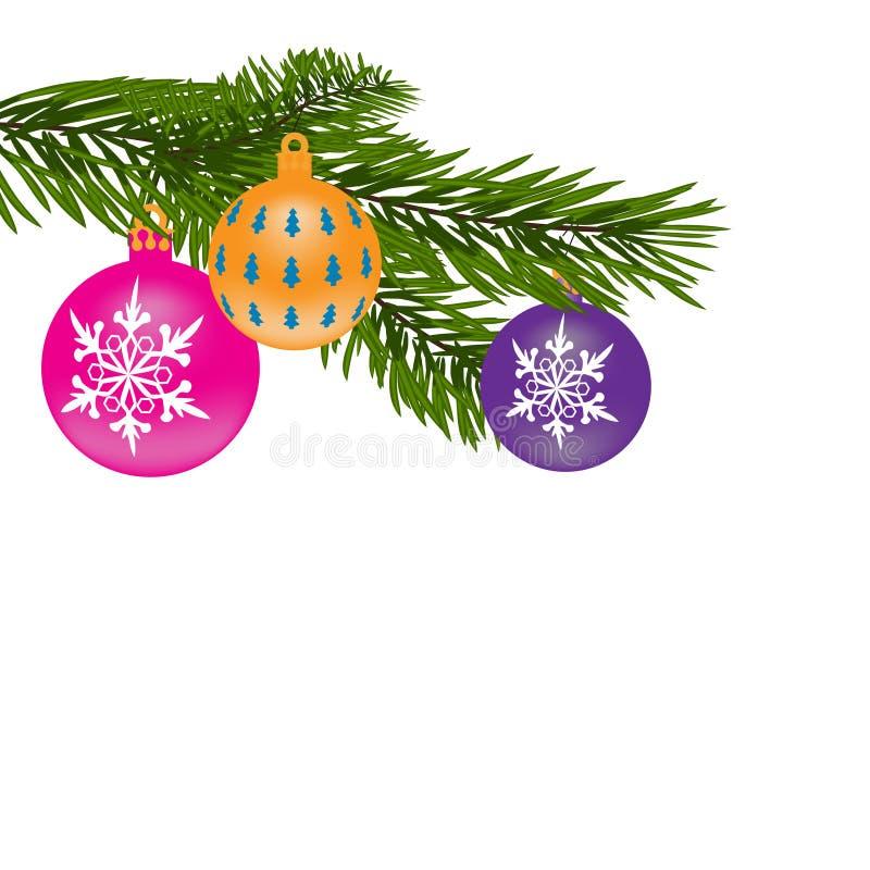 Hintergrund des neuen Jahres oder des Weihnachten Pelz-Baumniederlassung mit mehrfarbigen Bällen Abbildung vektor abbildung