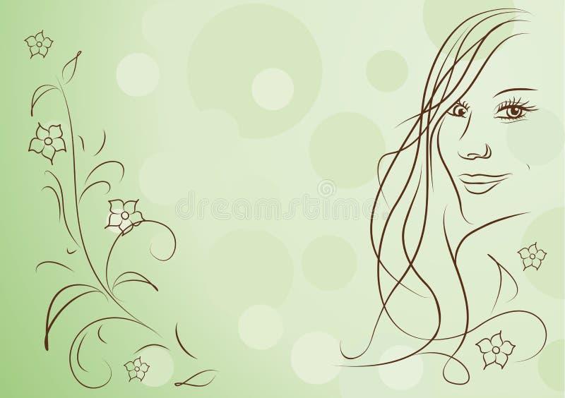 Hintergrund des Schönheitsmädchens und abstrakter des Frühlinges der Blumen stock abbildung