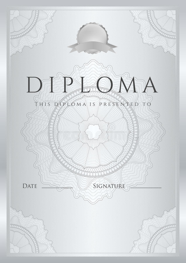 Hintergrund des silbernen Zertifikats/des Diploms (Schablone) vektor abbildung