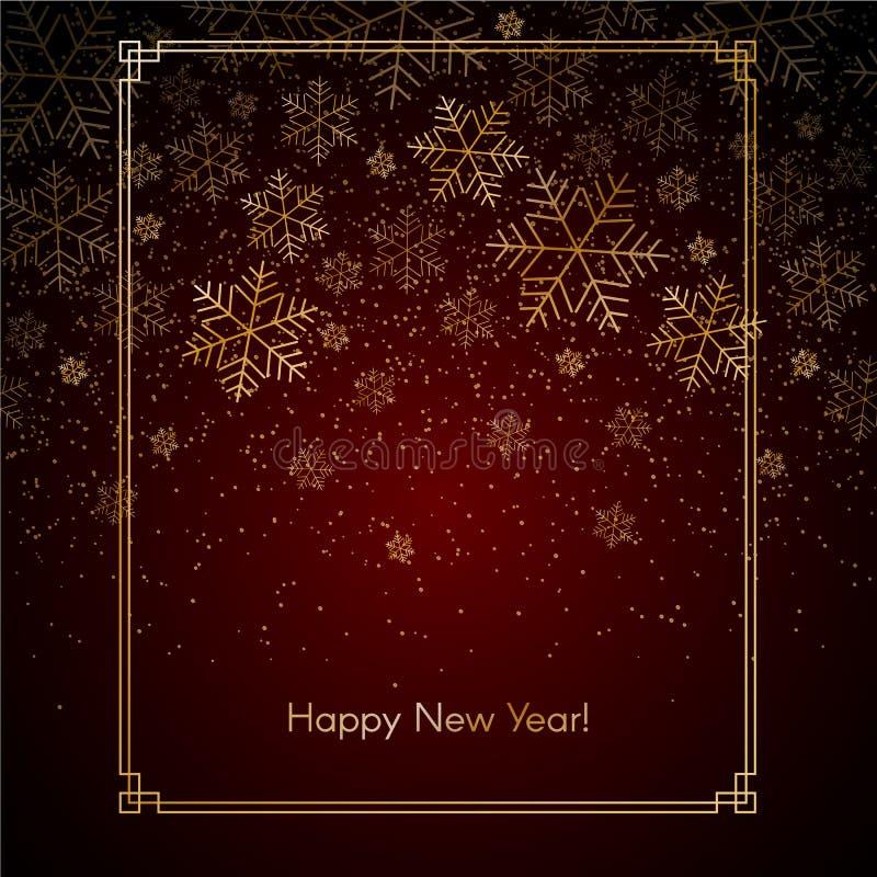 Hintergrund des Weihnachtsneuen Jahres mit Goldschneeflocken Text Winter-Hintergrund Weihnachten des guten Rutsch ins Neue Jahr r lizenzfreie abbildung