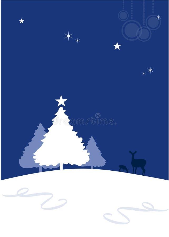 Hintergrund des Winters (Weihnachten) mit Rotwild lizenzfreie abbildung