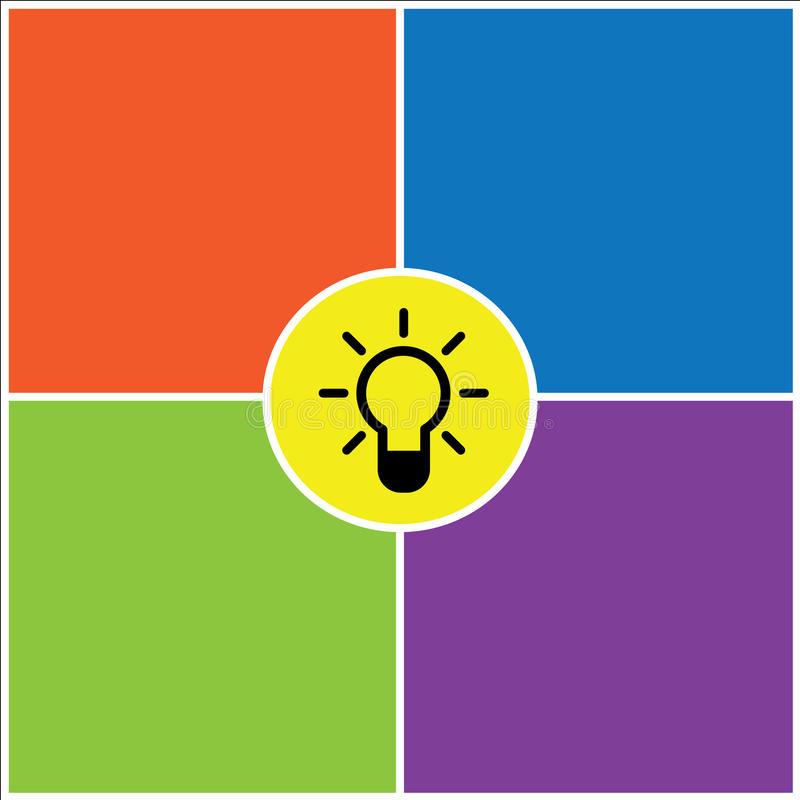 Hintergrund-Designillustration Glühlampe Idee bunte stock abbildung