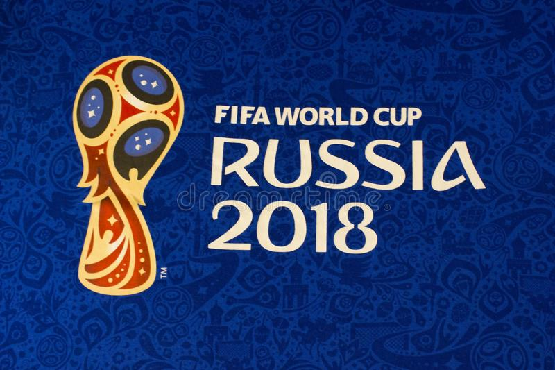 Hintergrund die Weltfußballmeisterschaft Rissia 2018 lizenzfreies stockbild