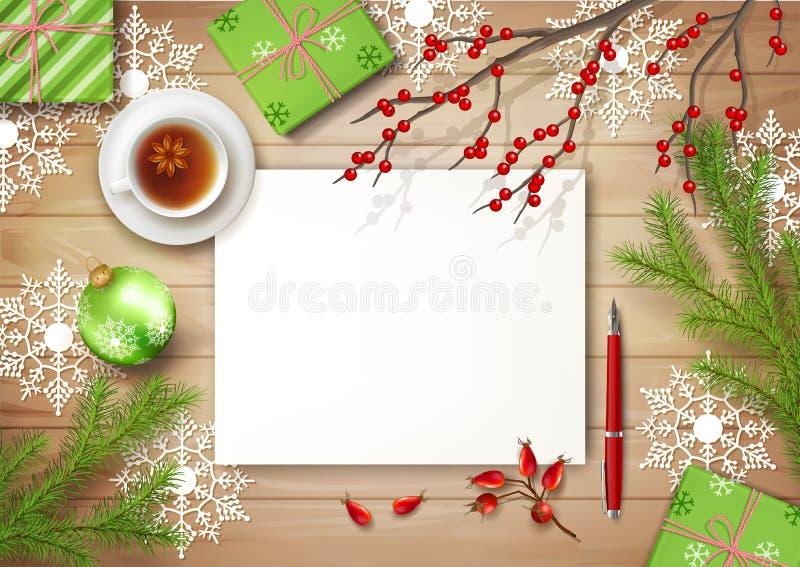 Hintergrund Draufsicht des Weihnachtsvektors lizenzfreie abbildung
