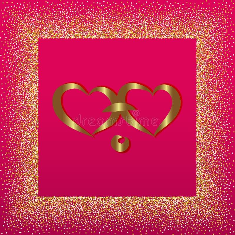 Hintergrund für Valentinsgruß mit zwei Herzen auf einem rosa Hintergrund Vektorillustration für Postkarte stock abbildung