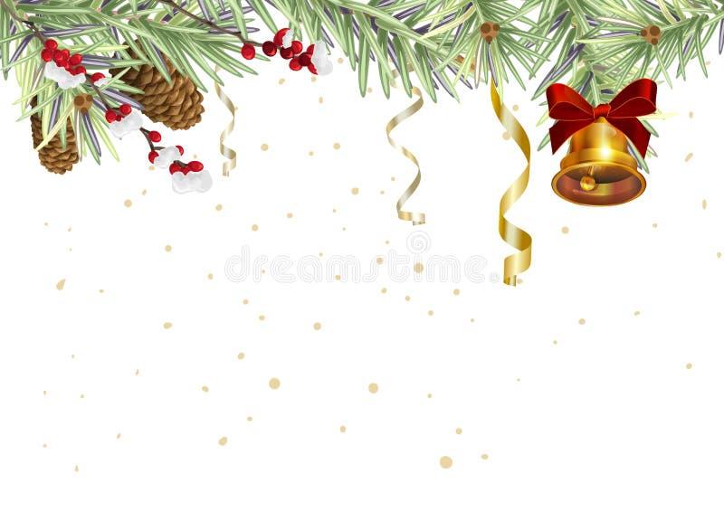 Hintergrund für Weihnachtskarte Fichtenzweige und goldene Glocke stock abbildung
