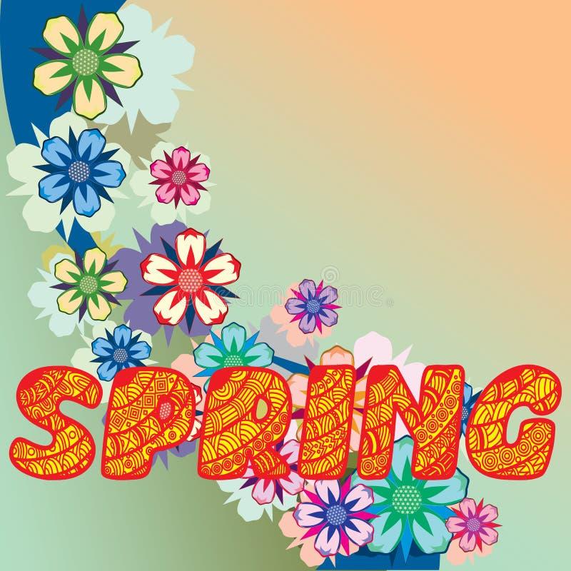 Hintergrund gebildet von den Blumen und von den Anlagen Kräuter und Blumen vektor abbildung