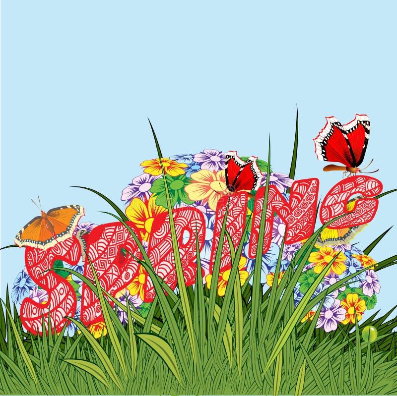 Hintergrund gebildet von den Blumen und von den Anlagen Kräuter und Blumen lizenzfreie abbildung