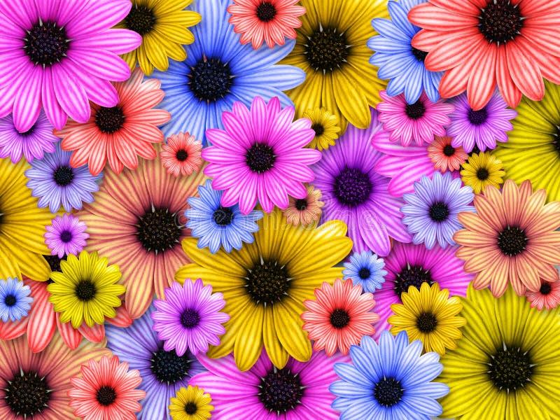 Hintergrund gebildet von farbigen Blumen lizenzfreie abbildung