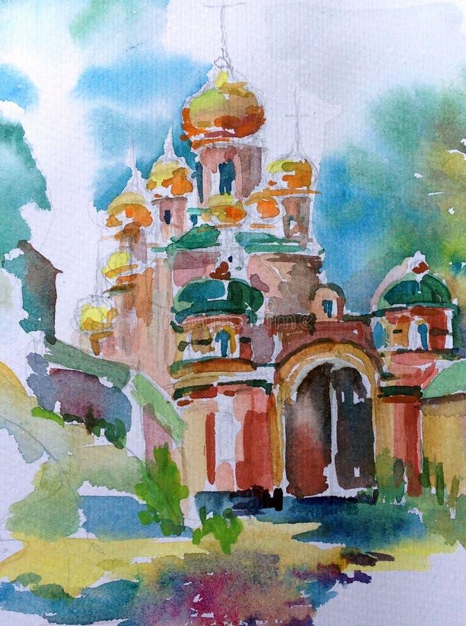 Hintergrund-Kirchenarchitektur des Aquarells verwischte die abstrakte, die historische nasse Wäsche errichtet, Dekorationshandsch lizenzfreie abbildung