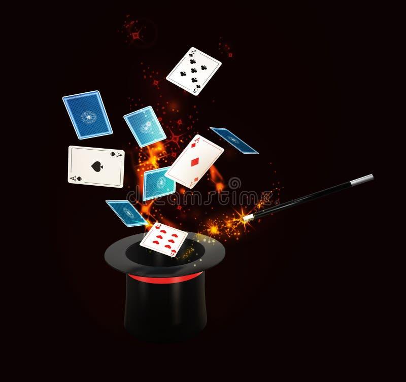 Hintergrund-magischer Hut mit Glanz und Fliegen spielt Karten lokalisiertes Schwarzes, Illustration 3d stock abbildung
