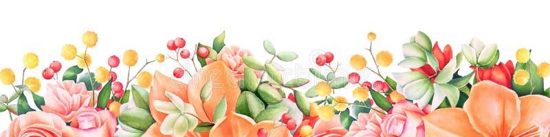 Hintergrund mit Aquarellsommerblumen und -beeren lizenzfreie abbildung