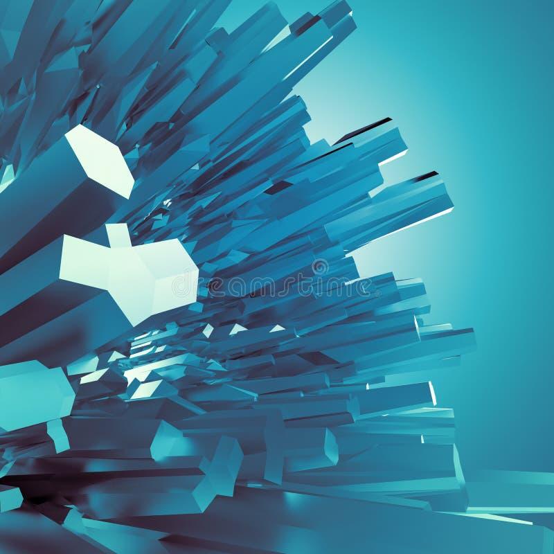 Hintergrund mit arktischen blauen Kristallformen 3d vektor abbildung