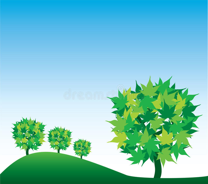 Hintergrund mit Bäumen und Himmel lizenzfreie abbildung