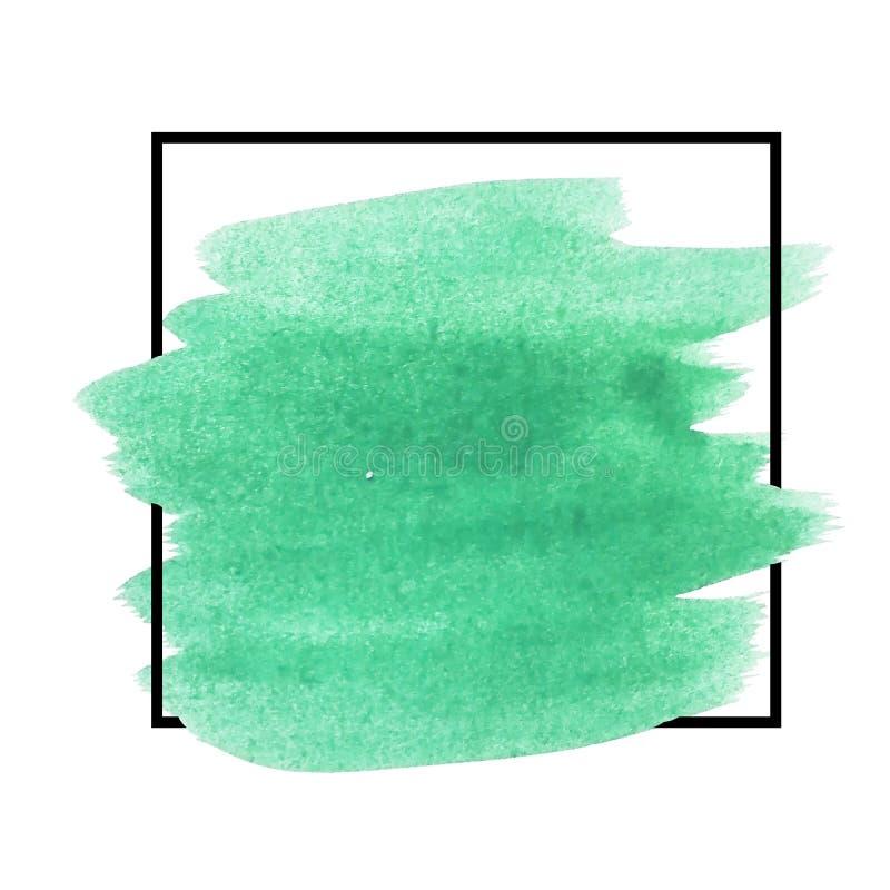 Hintergrund mit Bürstenanschlagaquarell schloss in einem Quadrat ein Ursprüngliche Schmutzkunst-Farbenschablone für Titel, Logo u vektor abbildung
