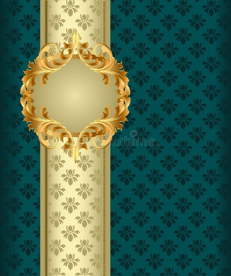Hintergrund mit Band des Gold (en) durch Kennsatz stock abbildung