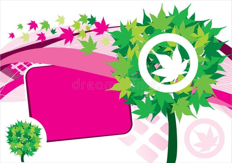 Hintergrund mit Baum und rosafarbener Fahne lizenzfreie abbildung