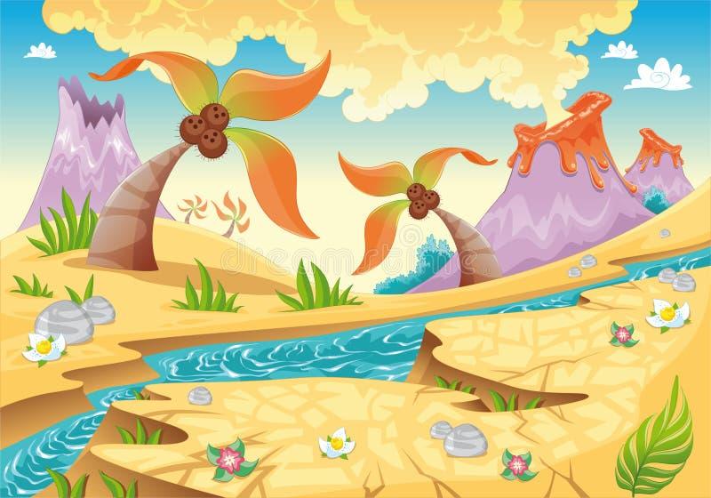 Hintergrund mit Baumpalmen und -vulkanen. lizenzfreie abbildung