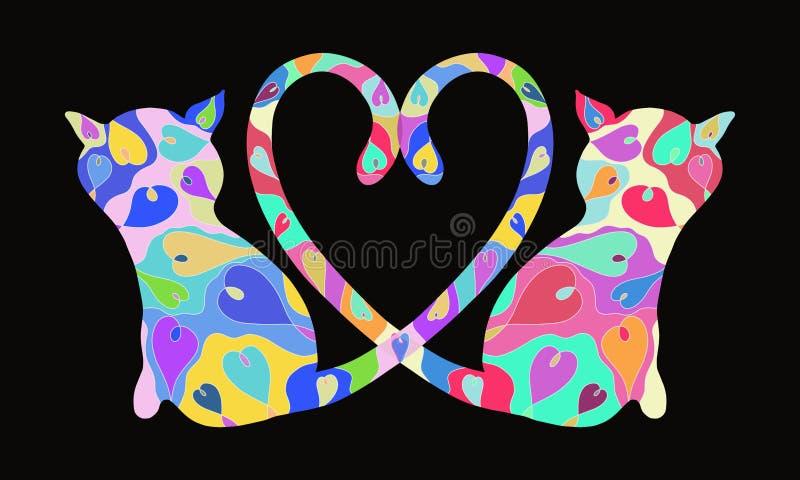 Hintergrund mit bezauberten Katzen mit einem vorzüglichen Muster, Romanze stock abbildung