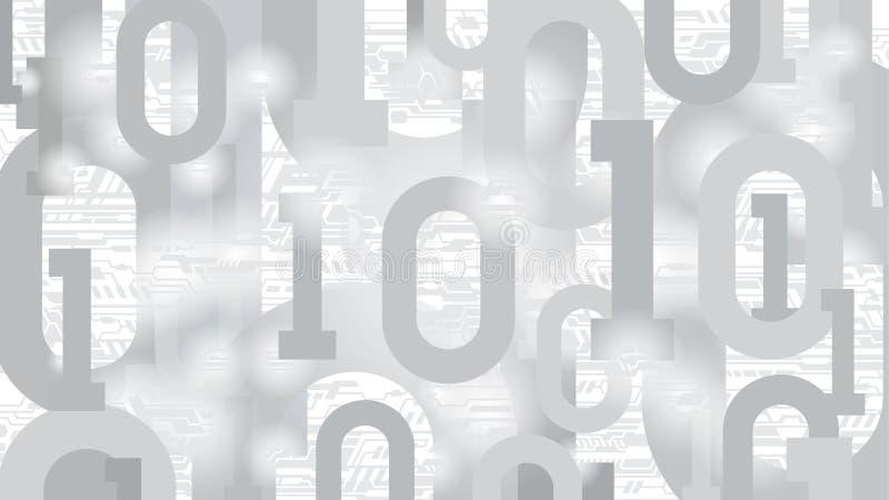 Hintergrund mit binär Code und elektronische Leiterplatte, digitaler Code im abstrakten Matrixcyberspace, Server mit großen Daten lizenzfreie abbildung