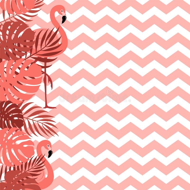 Hintergrund mit Blatt- und Zickzacklinien in der vibrierenden korallenroten Farbe Design für Postkarte, Plakat, Fahne stock abbildung