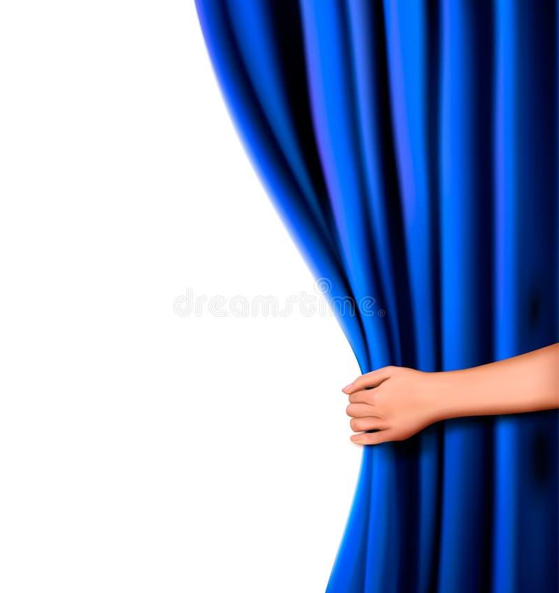 Hintergrund mit blauem Samttrennvorhang und -hand lizenzfreie abbildung