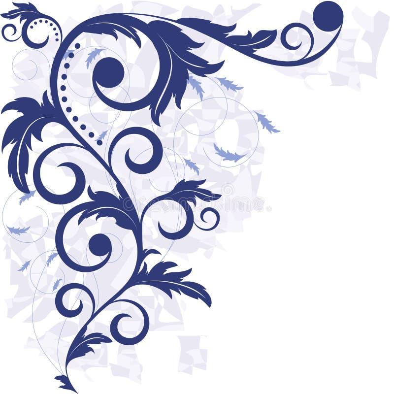 Hintergrund mit blauen Blättern lizenzfreie abbildung