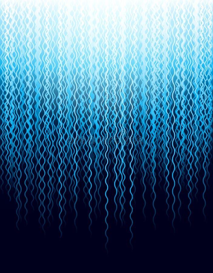Hintergrund mit blauen gewellten fallenden Linien Abstrakter blauer Hintergrund mit Linien des fallenden Wassers Abdeckungs-Entwu lizenzfreie abbildung