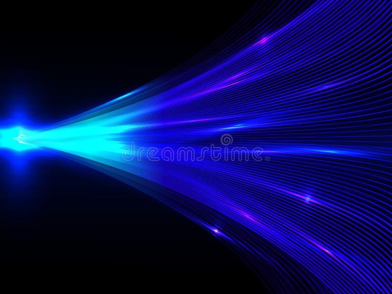 Hintergrund mit blauer Energie zeichnet das Zusammenlaufen in der Mitte auf Schwarzem stock abbildung