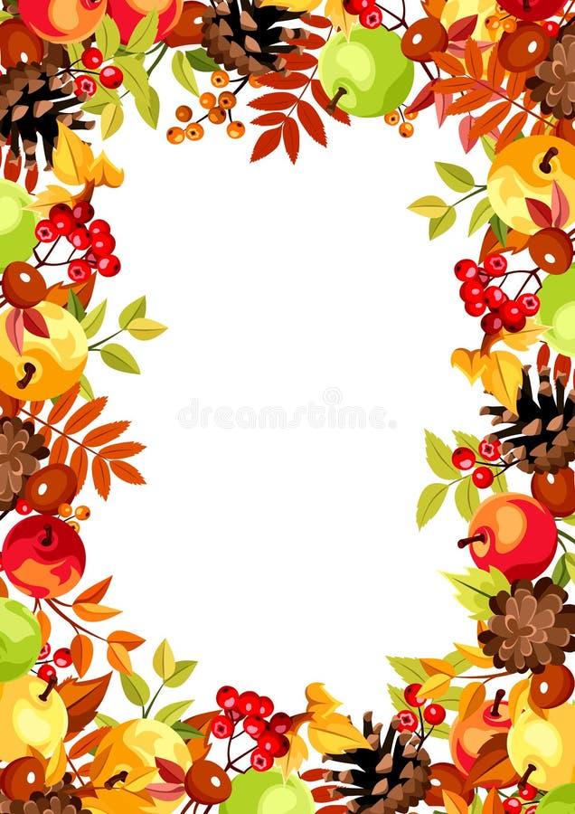 Hintergrund mit buntem Herbstlaub, Äpfeln und Kegeln Auch im corel abgehobenen Betrag vektor abbildung