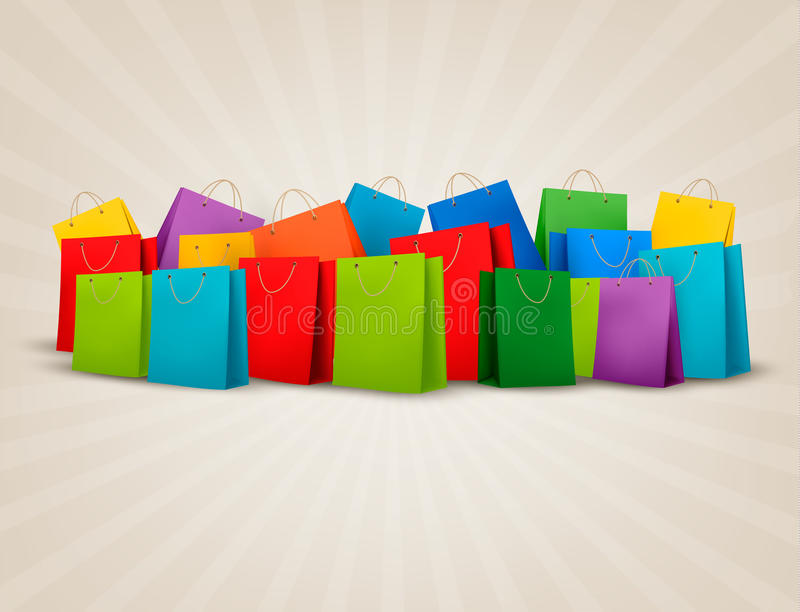 Hintergrund mit bunten Einkaufstaschen. Rabatt c lizenzfreie abbildung