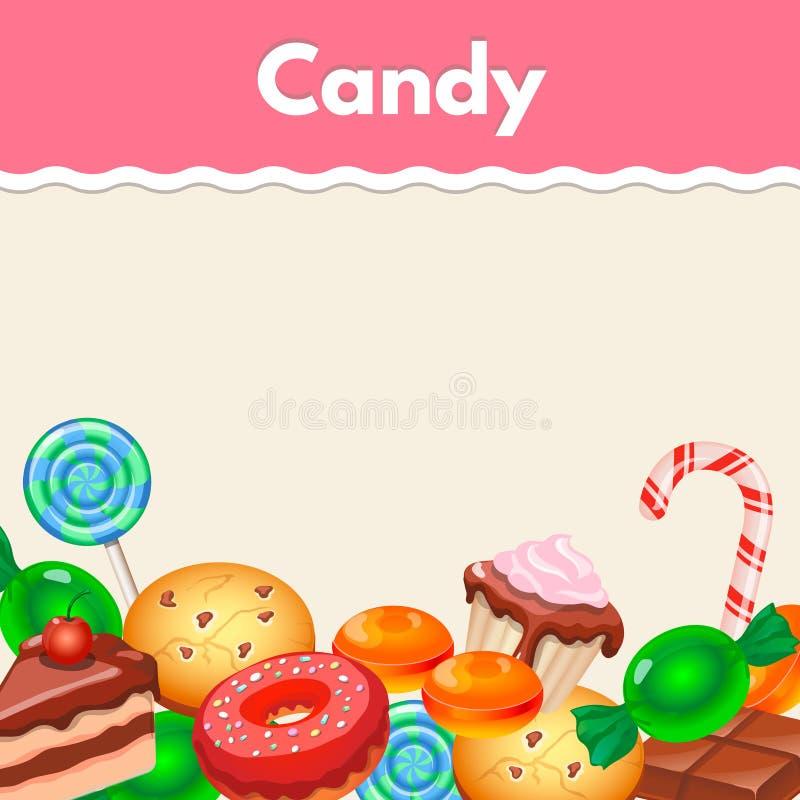 Hintergrund mit bunter Aufklebersüßigkeit, Bonbons und stock abbildung