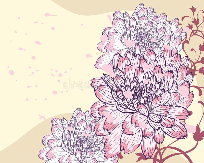 Hintergrund mit dekorativen Chrysanthemen stock abbildung
