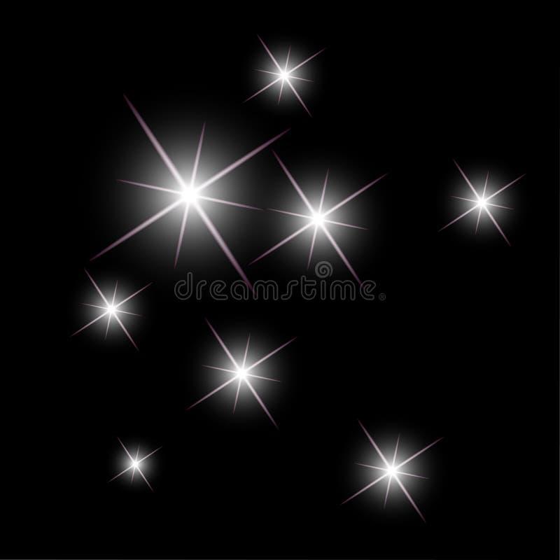 Hintergrund mit dem Funkeln spielt das Funkeln auf einem bewölkten Himmel in der Nacht die Hauptrolle stock abbildung