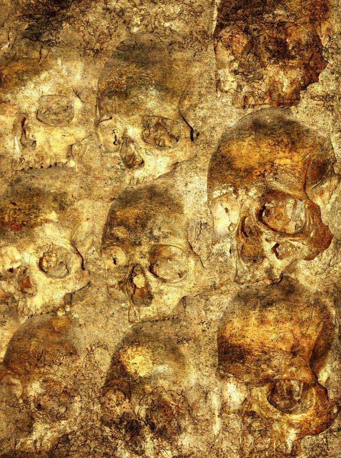 Hintergrund mit den menschlichen Schädeln lizenzfreie abbildung
