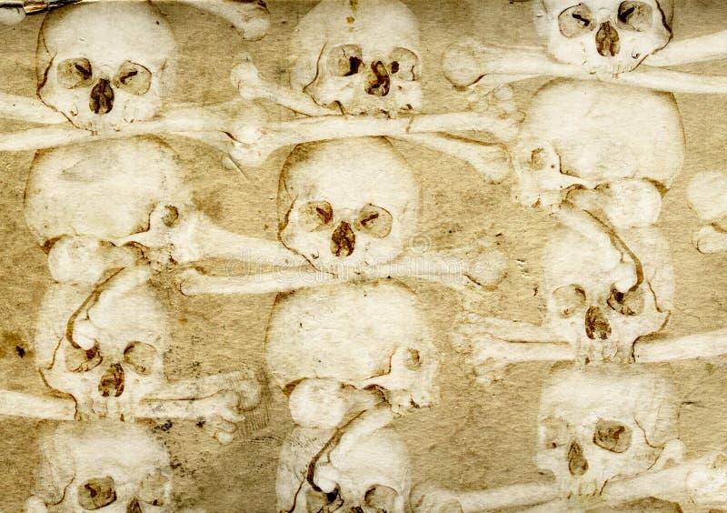 Hintergrund mit den menschlichen Schädeln und den Knochen stock abbildung