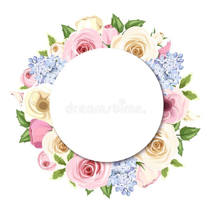 Hintergrund mit den rosa, weißen und blauen Rosen, lisianthus und Flieder blüht Vektor EPS-10 lizenzfreie abbildung