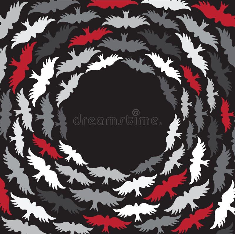 Hintergrund mit den schwarzen, roten und grauen Vögeln stock abbildung