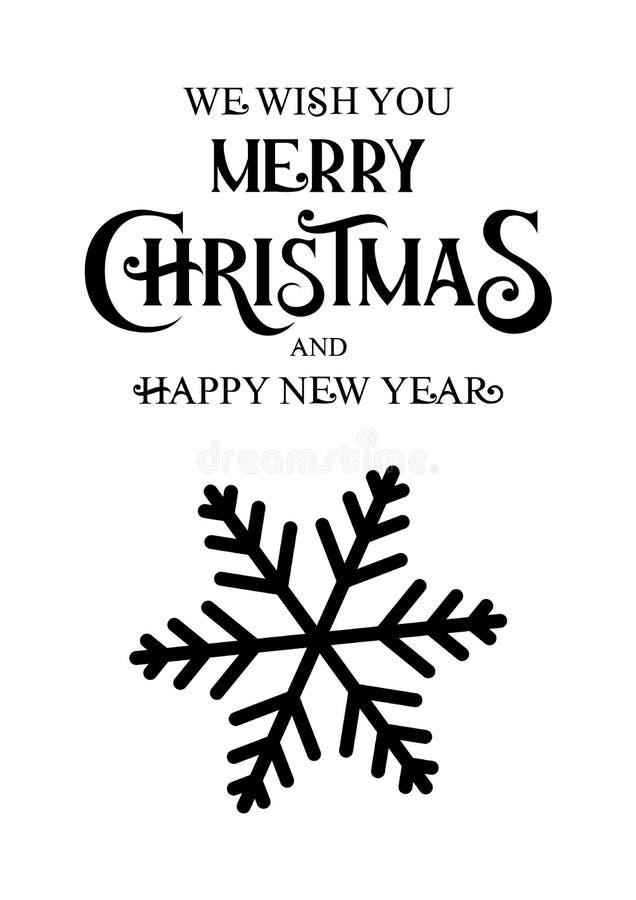 Hintergrund mit den schwarzen Schneeflocken, die Karte der frohen Weihnachten beschriften vektor abbildung