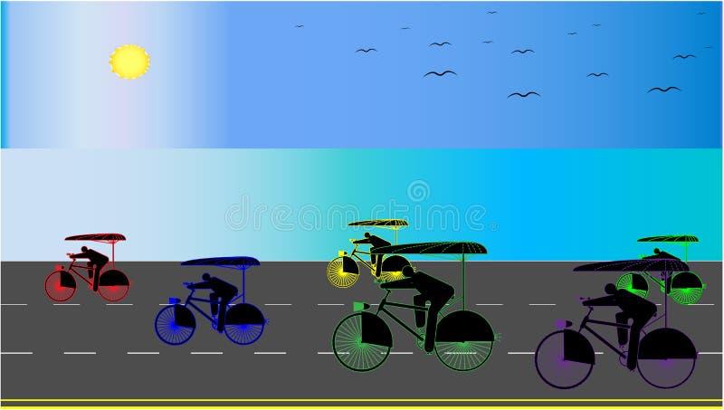 Hintergrund mit der nahe gelegenen Küste der Regenschirmfahrräder - Vektorillustration lizenzfreie abbildung