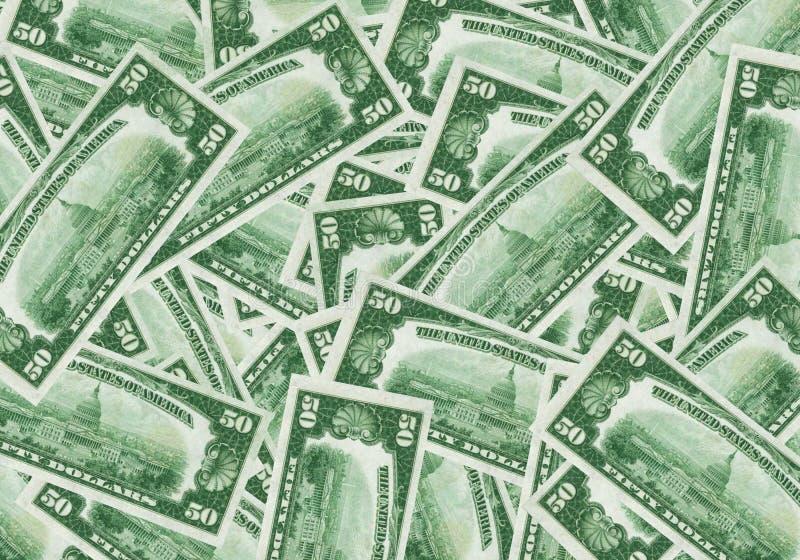 Hintergrund mit 50 Dollarscheinen stockfoto