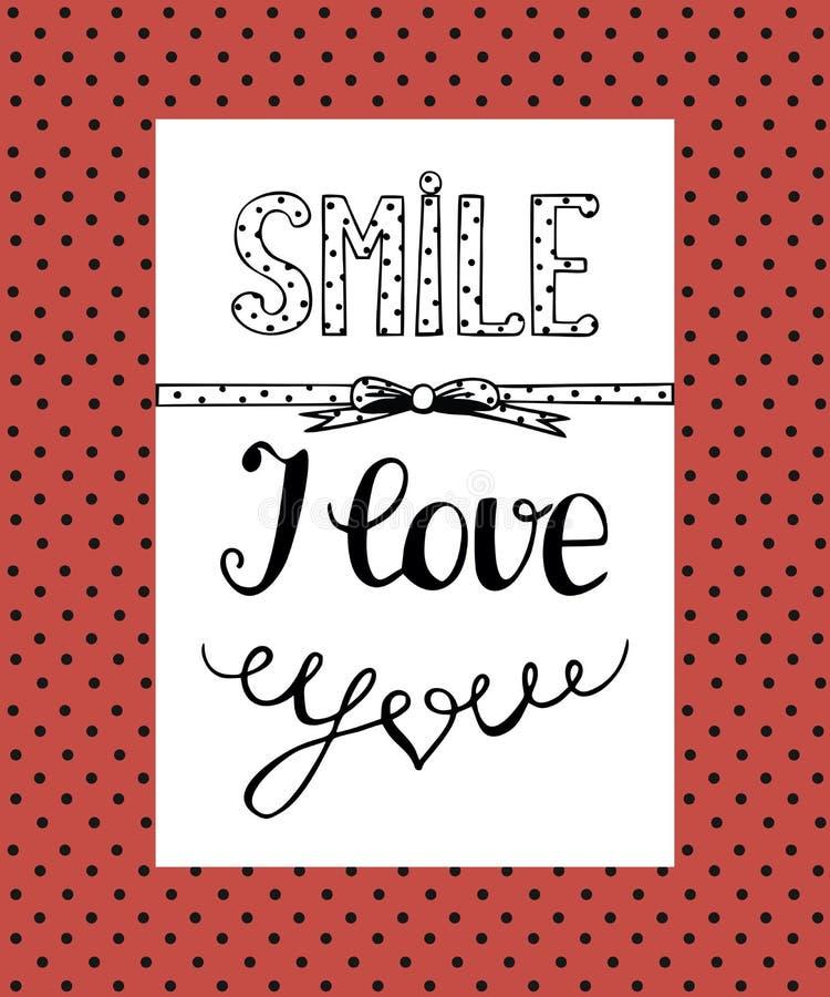 Hintergrund mit einem humorvollen Aufschrift Lächeln, ich liebe dich stock abbildung