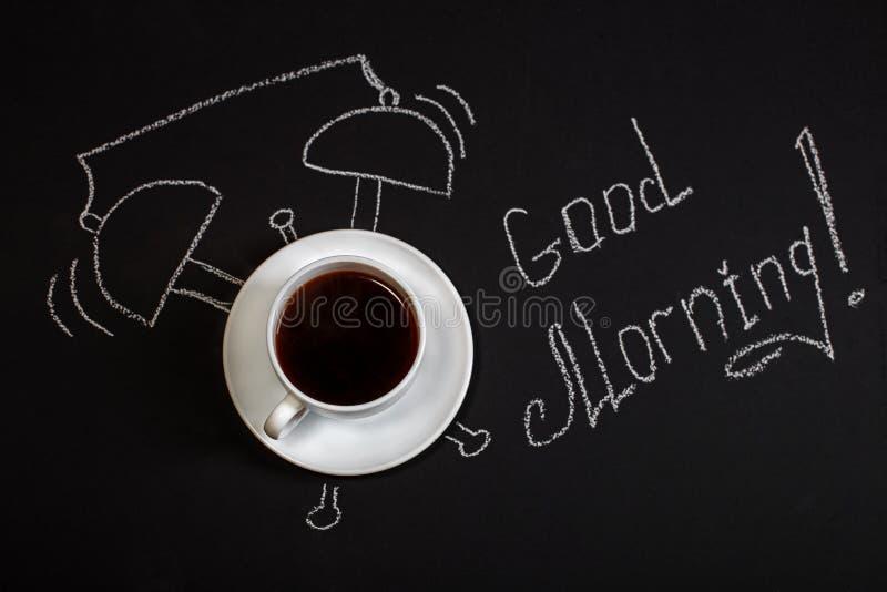 Hintergrund mit einem Tasse Kaffee Guten Morgen Das Konzept von Le lizenzfreies stockfoto